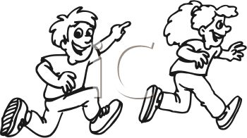 Girl and boy chasing clipart.