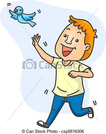 Stock Illustration of Man Chasing a Bird.