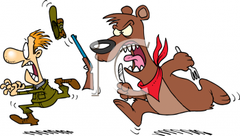 Cartoon Clipart Picture Of A Bear Chasing A Hunter With Utensils.