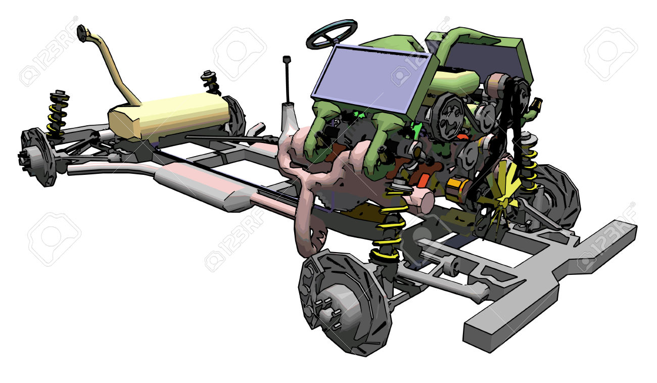 Car motors and transmissions clipart.