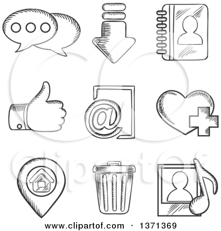Clipart of Black and White Sketched Chat, Download, Notebook, Like.