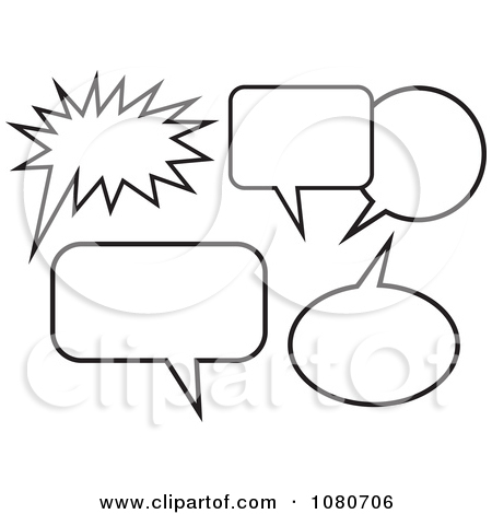 Clipart Black And White Chat Balloons.