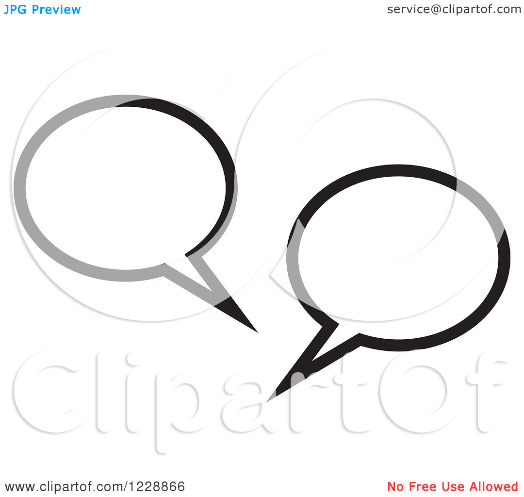Clipart of a Black and White Speech Bubble Live Chat Icon.