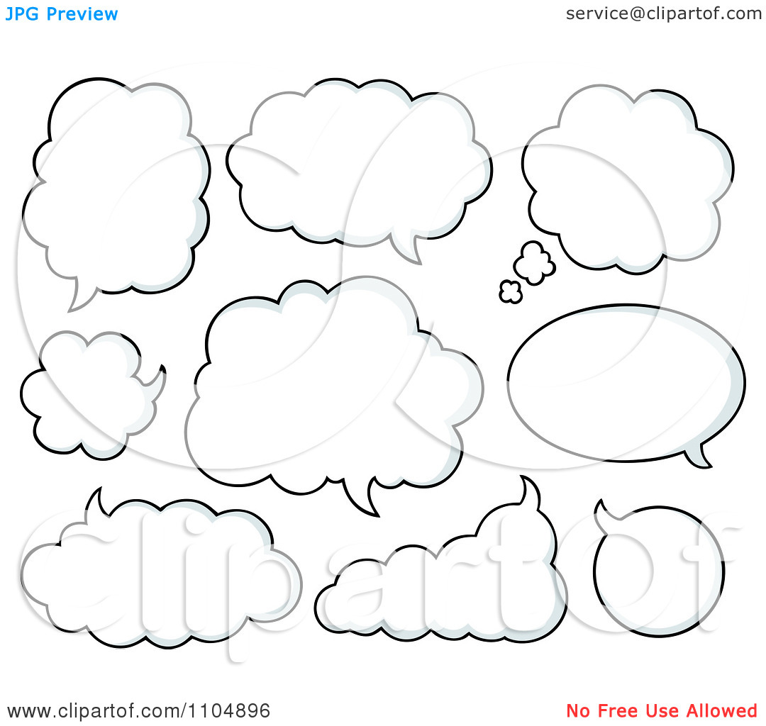 Clipart White Cloud Chat Balloons.