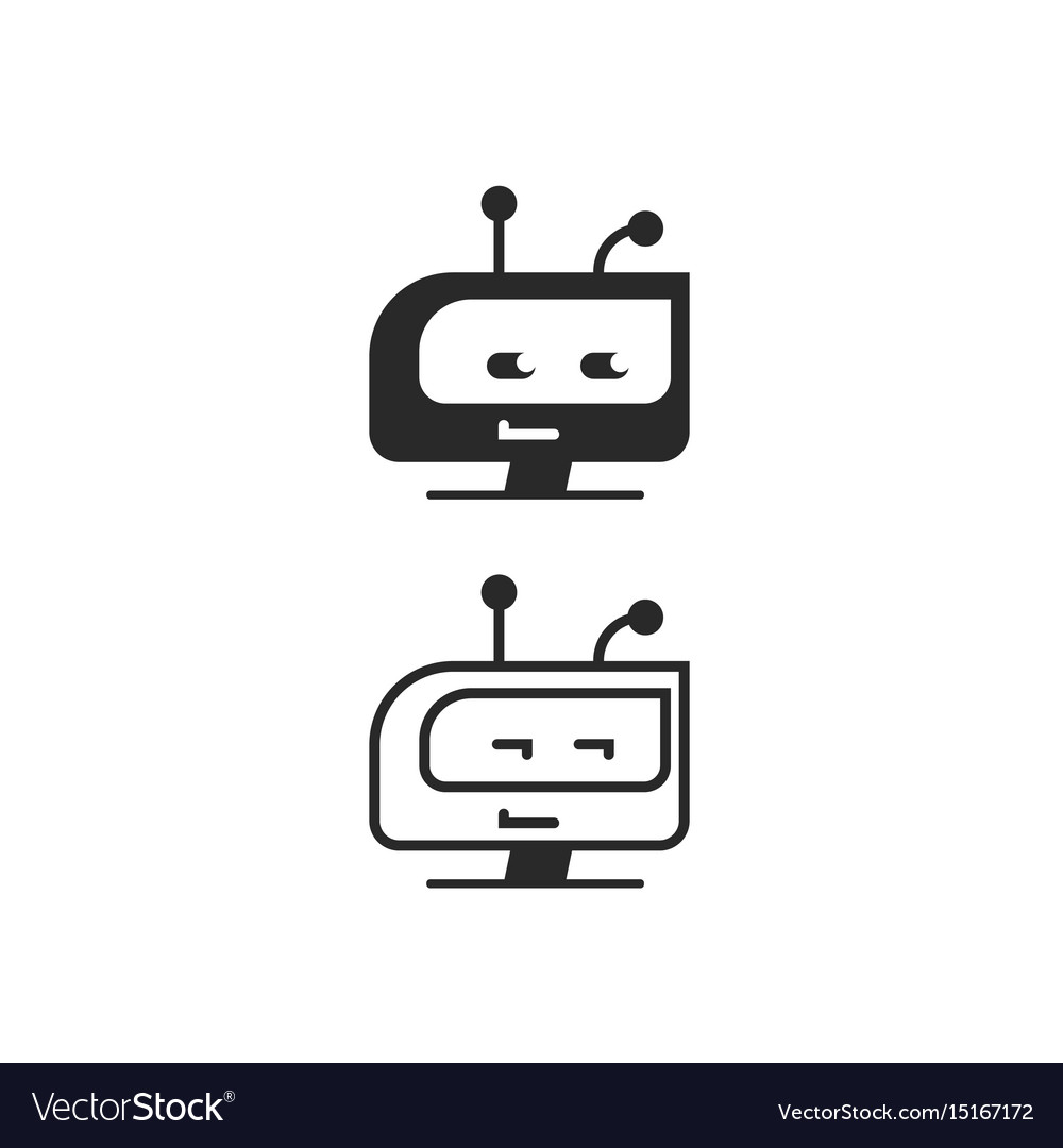 Robot head icon chatbot idea or bot logo.