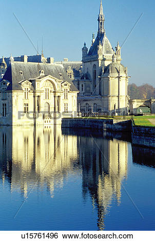 Stock Images of Chantilly, Chateau de Chantilly, Picardie, France.