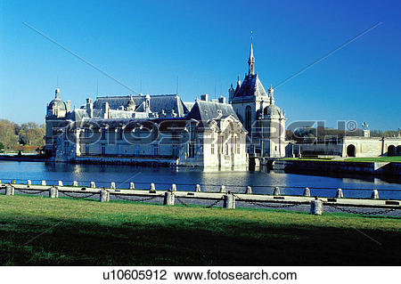 Stock Photo of chateau, castle, Chantilly, palace, France.