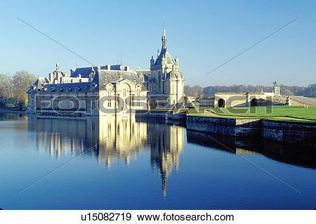 Stock Photograph of chateau, castle, France, Chantilly, Chateau de.