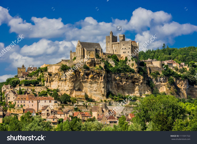 Chateau De Beynac Castle Dordogne Perigord France Stock Photo.