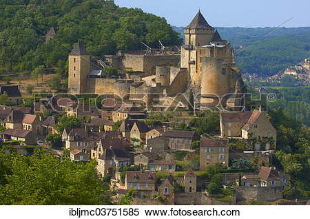 """Stock Image of """"Townscape with Castelnaud Castle, Chateau de."""