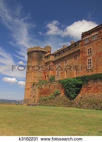 Stock Photography of Castelnau Castle , ramparts k3162231.