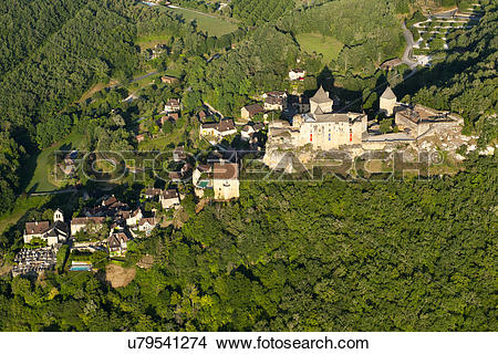 Stock Photo of France, Dordogne, Sarlat. An aerial view of Chateau.