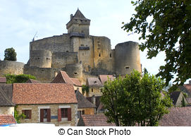 Stock Photography of chateau de Marzac perigord tursac france.