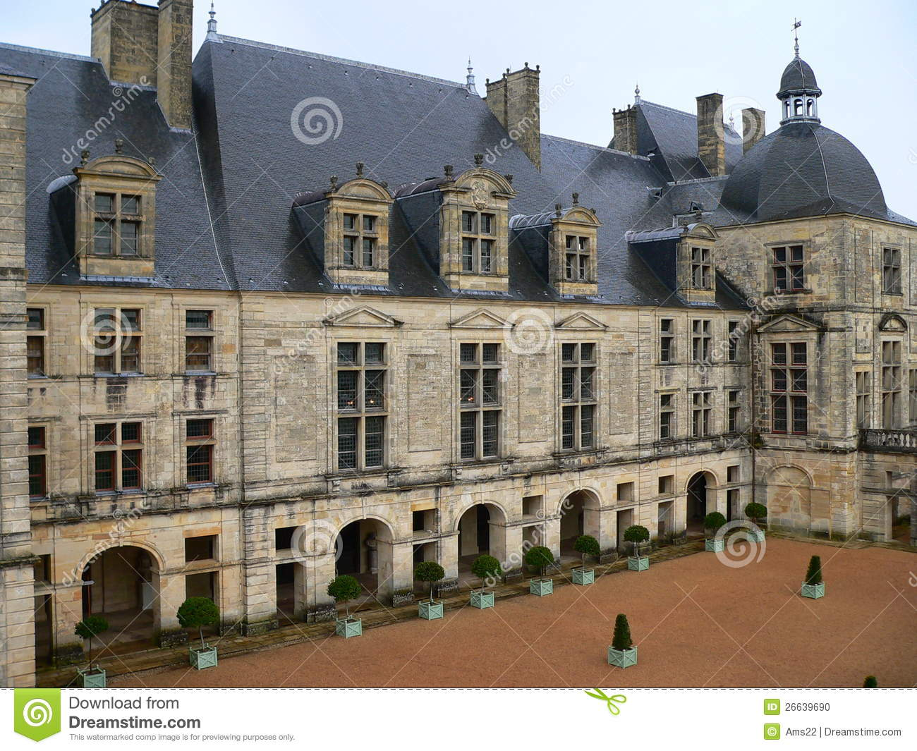 Chateau, Hautefort ( France ) Stock Photo.
