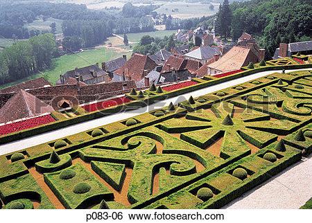 Stock Images of France, Dordogne, Chateau de Hautefort, gardens.