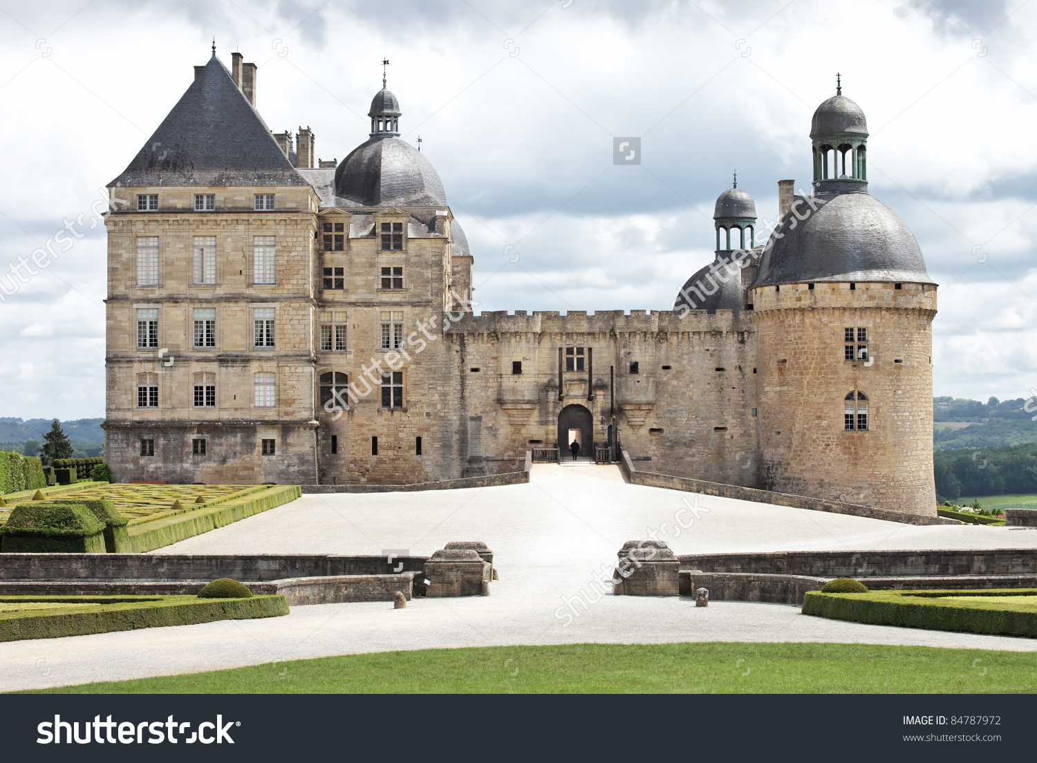 Chateau Hautefort In Dordogne, Aquitaine. France Stock Photo.