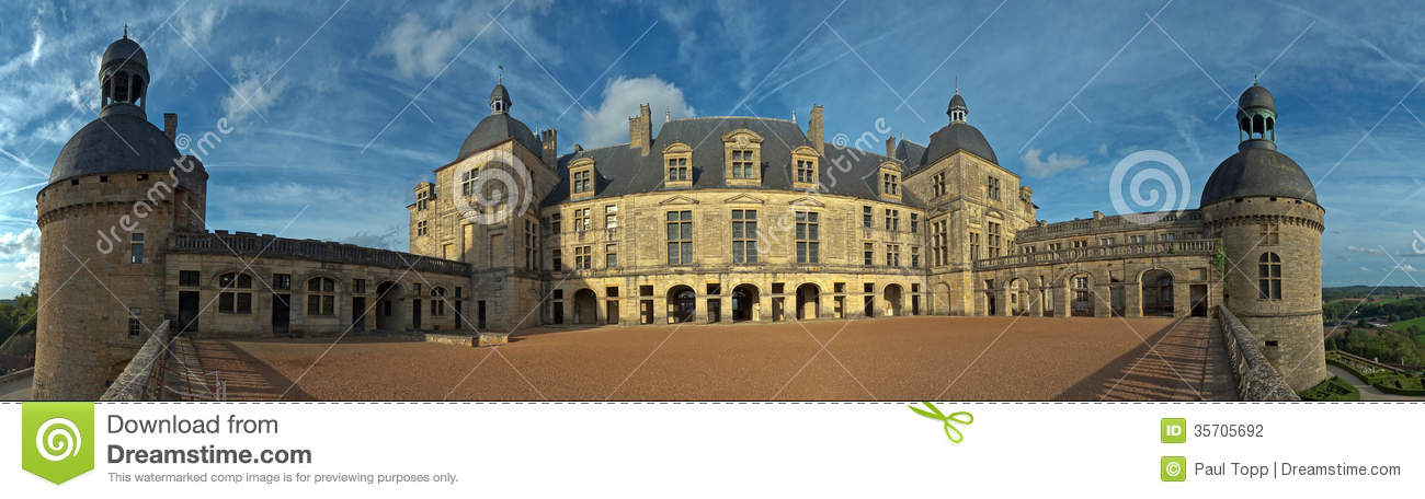 Courtyard At Chateau Hautefort Castle In France Stock Photography.