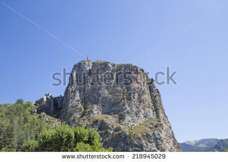Queribus Castle Located Cucugnan France Cathar Stock Photo.