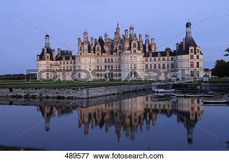 Picture of Castle at waterfront, Chambord Castle, Loire Valley.