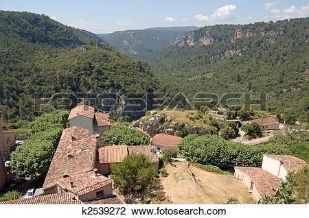 Stock Photo of Provence valley from Chateaudouble k2539272.
