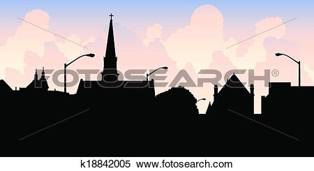 Clipart of Chatham Silhouette k18842005.