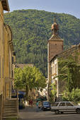 Stock Photo of France. Drome, Diois. Die Cathedral and street.