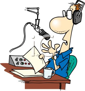 Royalty Free Clip Art Image: Cartoon of a Radio Talk Show Host.