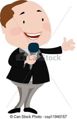 Vector Clipart of Talk Show Host.