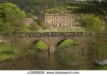 Stock Photo of England, Derbyshire, Chatsworth, Chatsworth House.