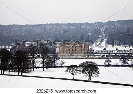 Stock Images of Chatsworth house in peak district national park in.