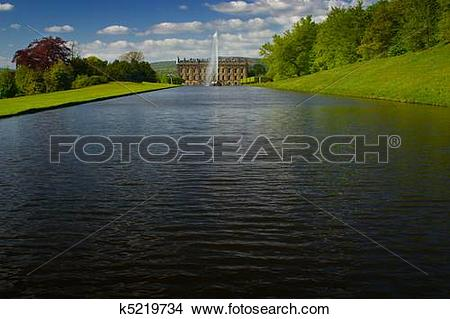 Stock Photo of Chatsworth Castle lake k5219734.