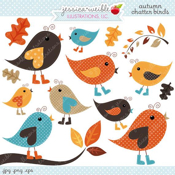 Autumn Chatter Birds Cute Digital Clipart.
