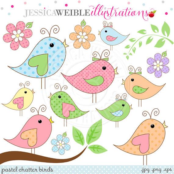 Pastel Chatter Birds Cute Digital Clipart.