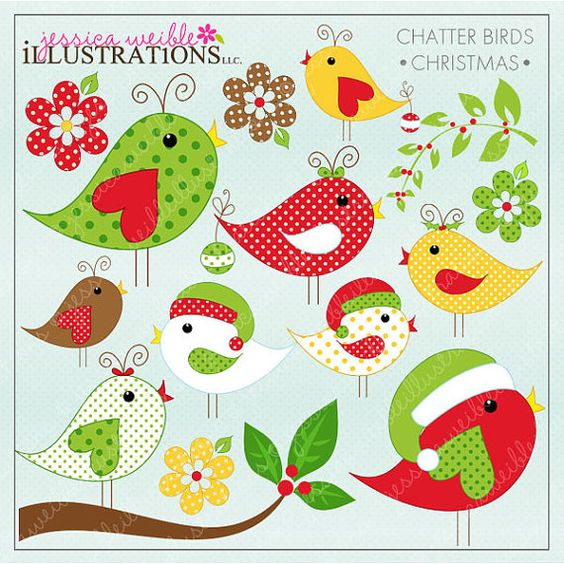Christmas Chatter Birds Cute Digital Clipart for Card Design.
