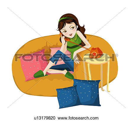 Stock Illustrations of Girl chatting on the Phone u13179820.