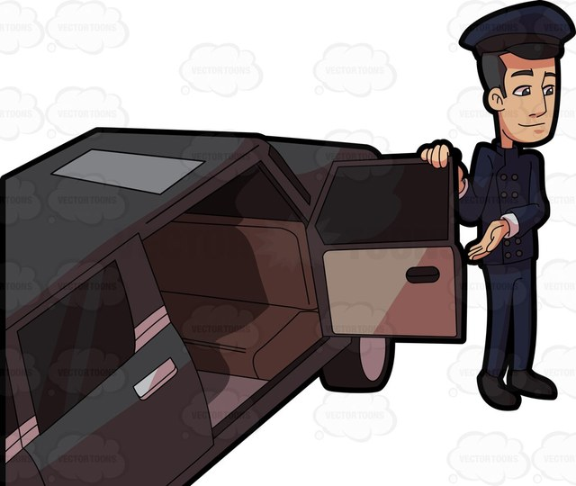 A chauffeur opening the passenger door for his client.