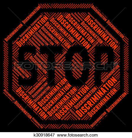 Stock Illustration of Stop Discrimination Indicates Narrow.