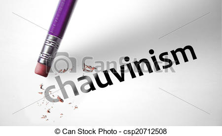 Stock Illustration of Eraser deleting the word Chauvinism.