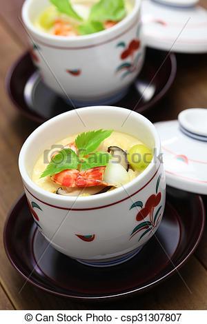 Stock Photography of chawanmushi, japanese egg custard.