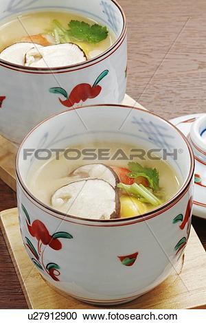 Stock Photography of Chawanmushi with Matsutake Mushroom.