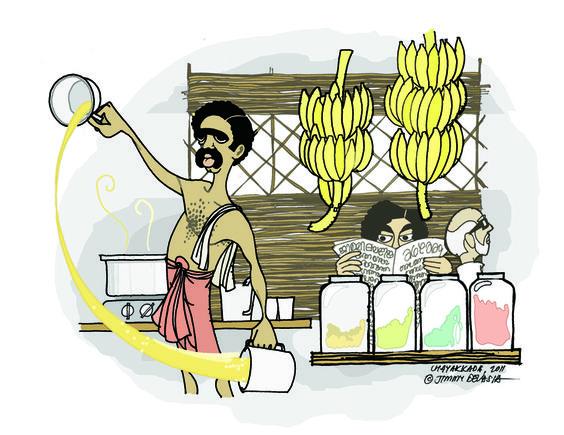 Chayakkada (tea stall) Kerala, India. Malayalis all over this.