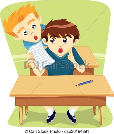 Vector Illustration of cheating student csp17412627.