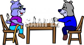 Dogs Playing Chess with One Cheating.
