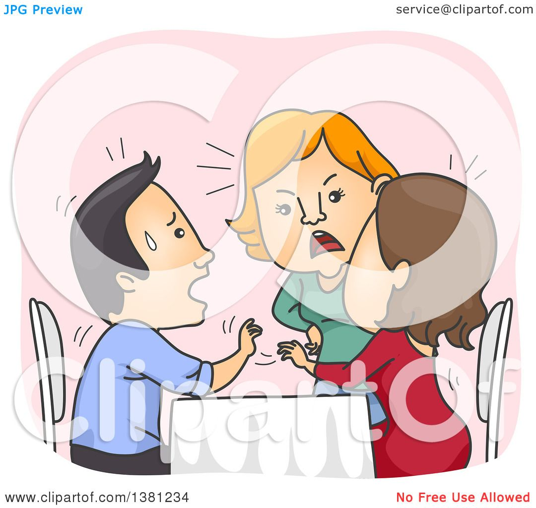 Clipart of a Cartoon Woman Confronting Her Cheating Boyfriend and.
