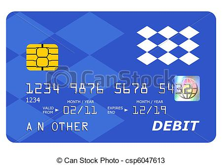 Drawings of Bank debit card mock up isolated on white.