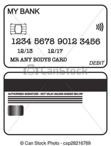 Clip Art Vector of Debit Card Black And White.