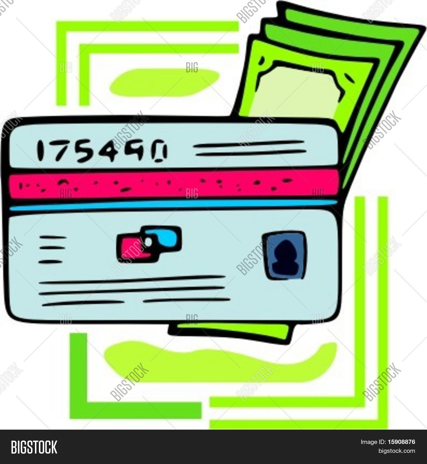 Money with credit\debit card.Vector illustration Stock Vector.