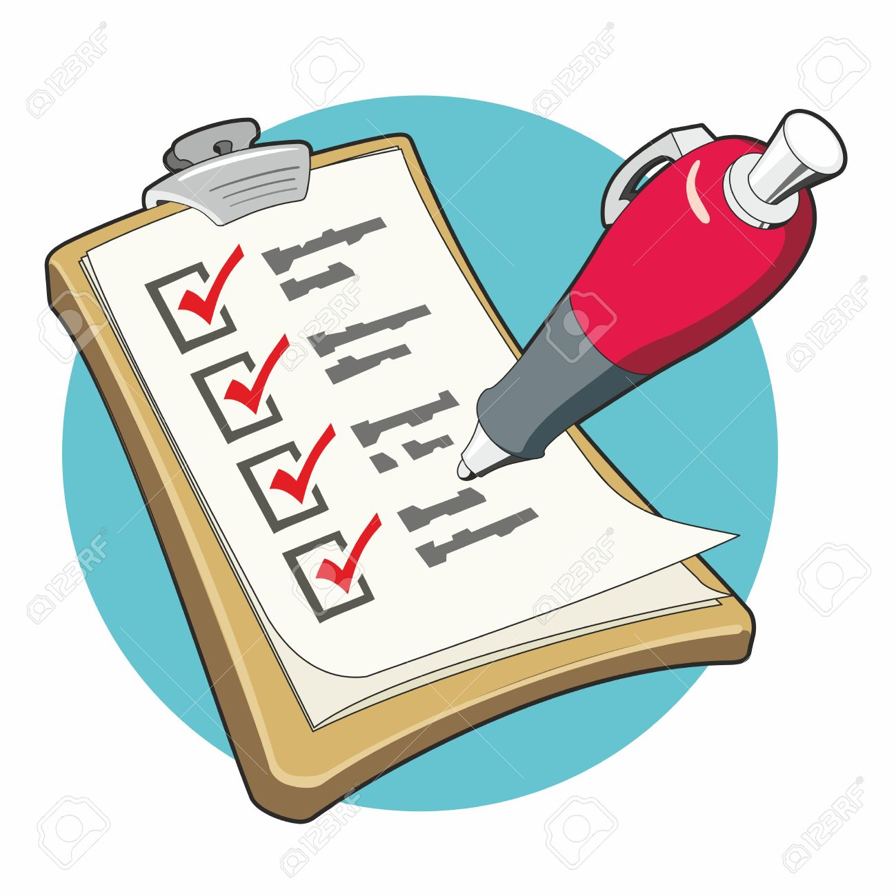 Checklist with red ballpoint pen ticking the boxes on a clipboard...