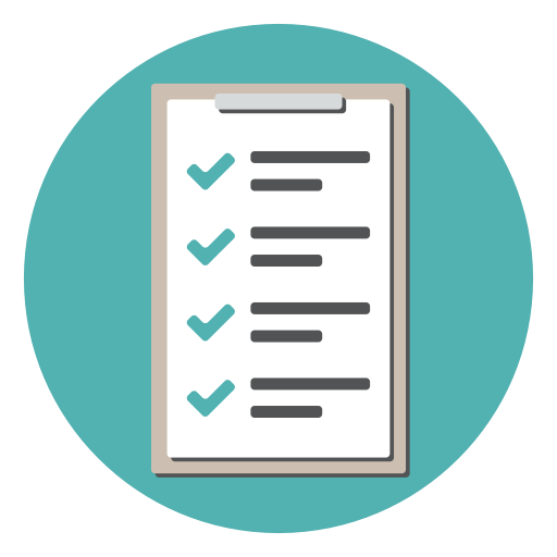 Checklist, checkmark, clipboard, document, list, tracklist icon.