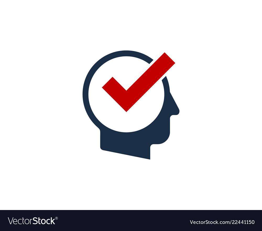 Check human head logo icon design.
